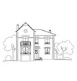 drawing big house vector image vector image