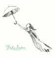 Drawn girl balloons freedom concept vector image vector image