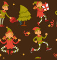 elf male and female children in love santa claus vector image vector image