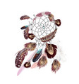 fashion bohemian dreamcatcher with feathers vector image vector image