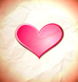 Heart on the crumpled paper vector image vector image