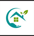 home care logo design leaf hand and house symbol vector image vector image