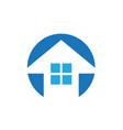 house building shape arrow logo vector image