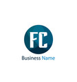 initial letter fc logo template design vector image vector image