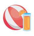 juice and striped summer ball design vector image