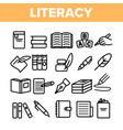 literacy linear thin icons set pictogram vector image vector image