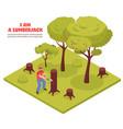 lumberjack isometric composition vector image vector image