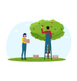 man and woman in overall and rubber boots picking vector image