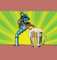 man pours beer vector image vector image