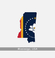 mississippi usa map flag vector image vector image