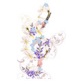 music background with floral treble clef vector image vector image