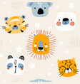 seamless kids pattern with cute animals childish vector image