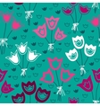 seamless pattern with bunches of tulips on a green vector image vector image