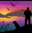 silhouette of a hunter with dog vector image vector image