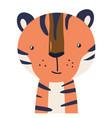 tiger cute animal baface vector image vector image