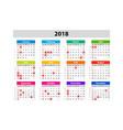 usa calendar for 2018 scheduler agenda or diary vector image