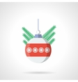 Xmas sphere bauble flat color icon vector image