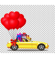 yellow modern opened cartoon cabriolet car with vector image vector image
