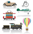 set icons old retro transport vector image