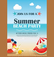 beach party invitation poster with vacation vector image