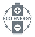 eco battery logo simple gray style vector image