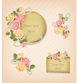 Vintage pink yellow roses and Pearl Necklace vector image