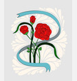 a bouquet of three red roses in a ribbon painted vector image vector image