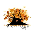 Autumn old tree with roots for your design vector image