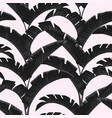 black white banana leaves light rose background vector image