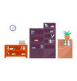 bookcases office interior set vector image vector image