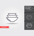 bowls line icon with editable stroke with shadow vector image vector image