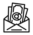 bribery money envelope icon outline style vector image vector image