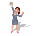 Businesswoman rejoices at profitable contract vector image