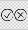 check marks tick and cross icon on on isolated vector image