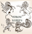 collection of heraldic decorative animals vector image vector image