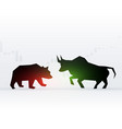 concept design of bear and bull in front of each vector image