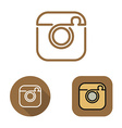 Contour social network cam icon and srtickers set vector image vector image