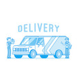delivery van and workers vector image vector image