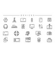 devices concept line style icons set vector image vector image
