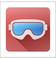 Flat icon with Classic snowboard ski goggles vector image