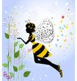 flower girl fairy bee vector image vector image