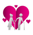 grandparents couple with hearts silhouettes vector image vector image