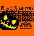 halloween party invitation with scary pumpkin vector image vector image