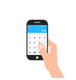 hand holding phone with calculator app vector image