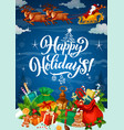 happy winter holidays poster with gifts on snow vector image