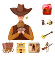 isolated object wild and west icon collection vector image vector image