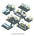 isometric airport halls composition vector image