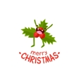 leaves mistletoe cheerful christmas card vector image vector image