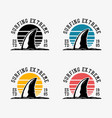 logo design surfing extreme est 1985 with shark vector image