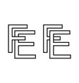 logo sign fe ef icon sign interlaced letters e f vector image vector image
